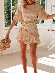 Round Neck Floral Ruffled Print Mini Dress