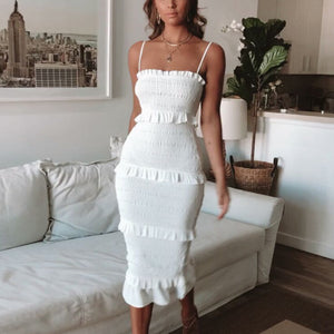 Fashion Slim Pleated Sling Cake Dress