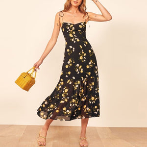 2020 cross-border supply Amazon AliExpress hot sale European and American fashion fungus ear print chiffon dress