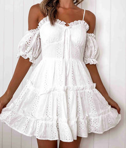 Off the Shoulder Cutout Lace Mini Dress
