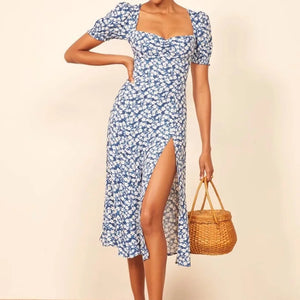 Europe and the United States 2020 summer new ins Hong Kong style small fresh blue floral square collar bubble sleeve split mid-length dress
