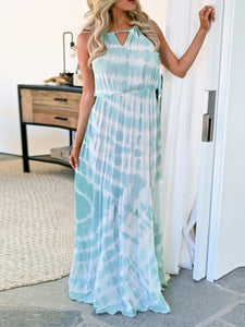 Stripe Color Block Drawstring Maxi Dress