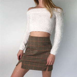Classical Plaid Coffee Split Skirts