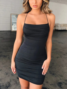 Solid Color Halter Sexy Dress