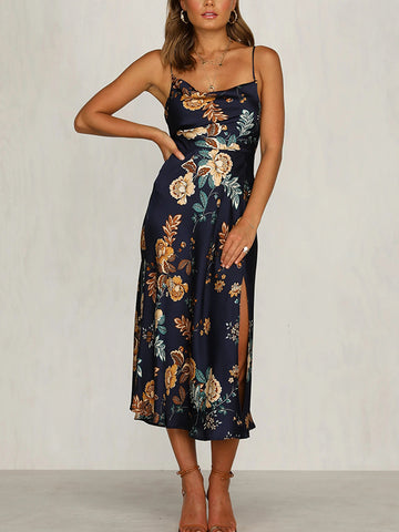 Sleeveless Slim Floral Print Midi Satin Dress