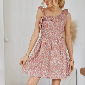 Women's original design printed floral wood ear straps high waist casual dress
