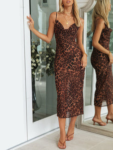 Sexy V-neck sling leopard print dress