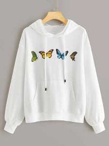Loose long sleeve embroidered butterfly hooded sweatshirt