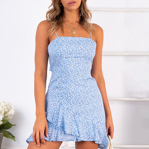 Sling-print lace-up patchwork casual mini dress