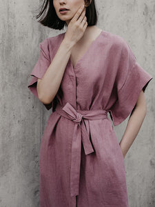 v-neck short sleeve Summer linen dress