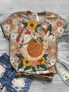 Casual Print Rooster Pattern Retro T-shirt