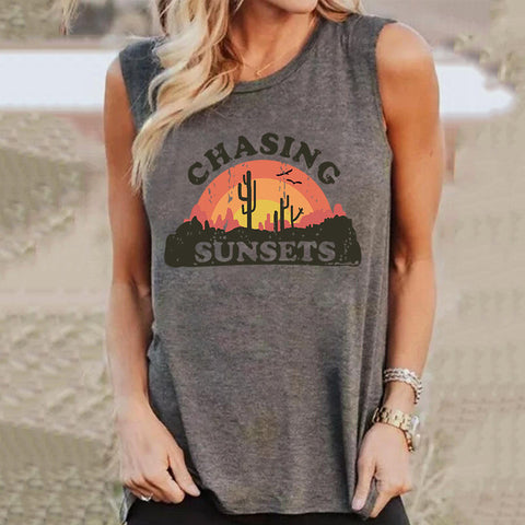 Amazon Hot Selling Women's Vest Chasing Sunsets Cactus Printed Loose Round Neck Sleeveless T-Shirt