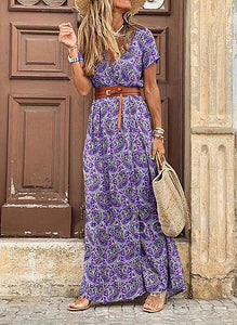 Plus Size V Neck Print Short Sleeve Split Maxi Dress