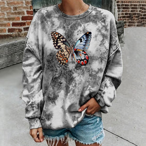 2020 autumn and winter tie-dye butterfly print hoodie