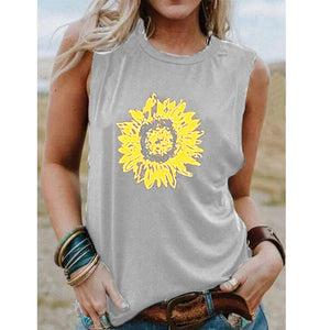Summer 2020  new female sunflower print sleeveless vest