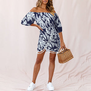 One-shoulder fringed high waist 3/4 sleeve irregular leaf print dress