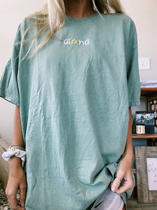 Round Neck Short Sleeve Light Sage Tee
