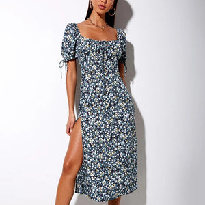 Open back split irregular floral sexy square collar ruffled bodycon dress