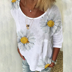 2020 summer new Amazon AliExpress Europe and America explosion models chrysanthemum print shirt round neck short sleeve T-shirt female y-162