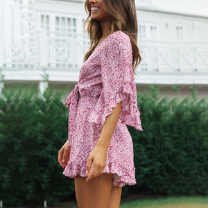 Sexy V-neck Flared Sleeve Lace printed casual holiday dress