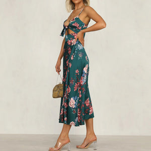 Stylish temperament printed knotted camisole dress