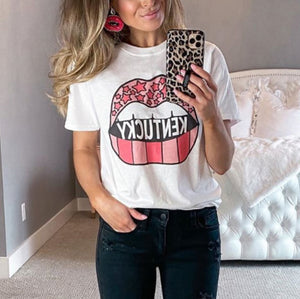 Lips printed round neck short sleeve t-shirt