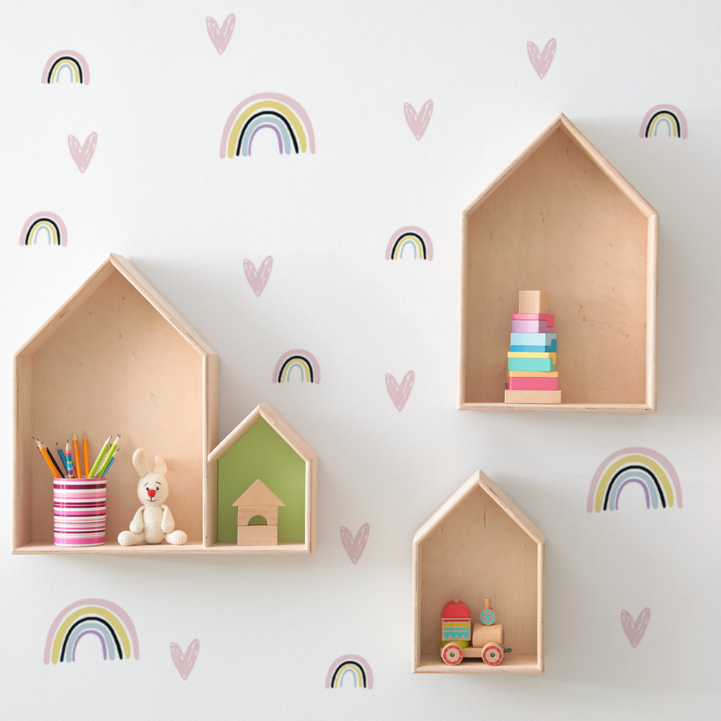 rainbow wall stickers with hearts, hearts and rainbows wall decals, pattern wall sticker with rainbows and hearts, rainbow nursery decoration
