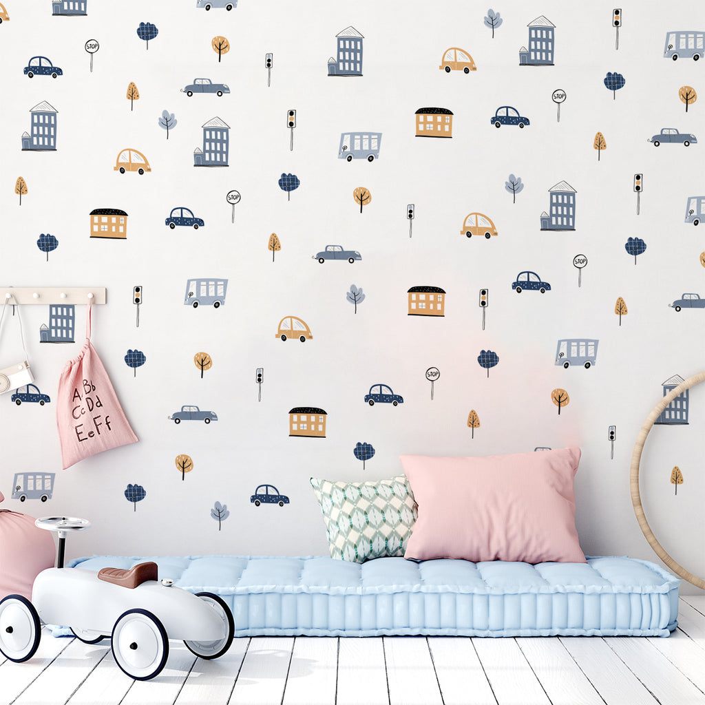 kids bedroom wall sticker, nursery wall sticker, wall sticker, wall decal , wall tottoo, cars wall sticker, vehicles wall sticker, houses wall stickers, trucks wall sticker, wall stickers with cars, boys wall sticker, vehicles wall sticker, wall stickers with houses and cars