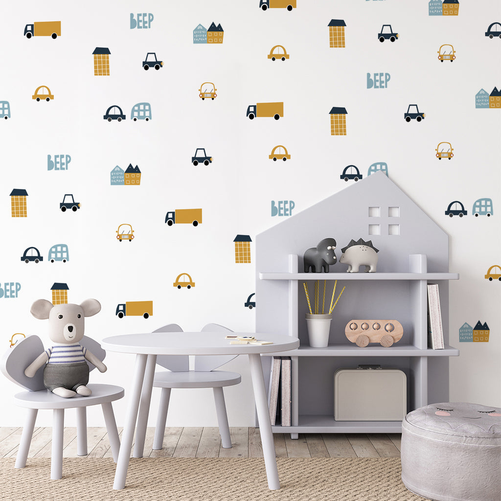 kids bedroom wall sticker, nursery wall sticker, wall sticker, wall decal , wall tattoo, cars wall sticker, vehicles wall sticker, girls wall stickers, boys wall sticker, wall stickers with cars, scandinavian wall sticker, vehicles wall sticker, wall stickers with cars, nordic wall stickers, nordic wall decal, scandinavian wall decal, nursery room ideas, kids bedroom ideas, wall stickers with houses and cars, trick wall stickers