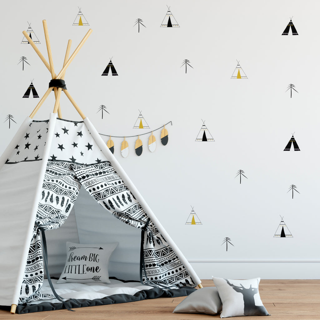 wigwam wall stickers, boys bedroom wall stickers, pattern wall sticker
