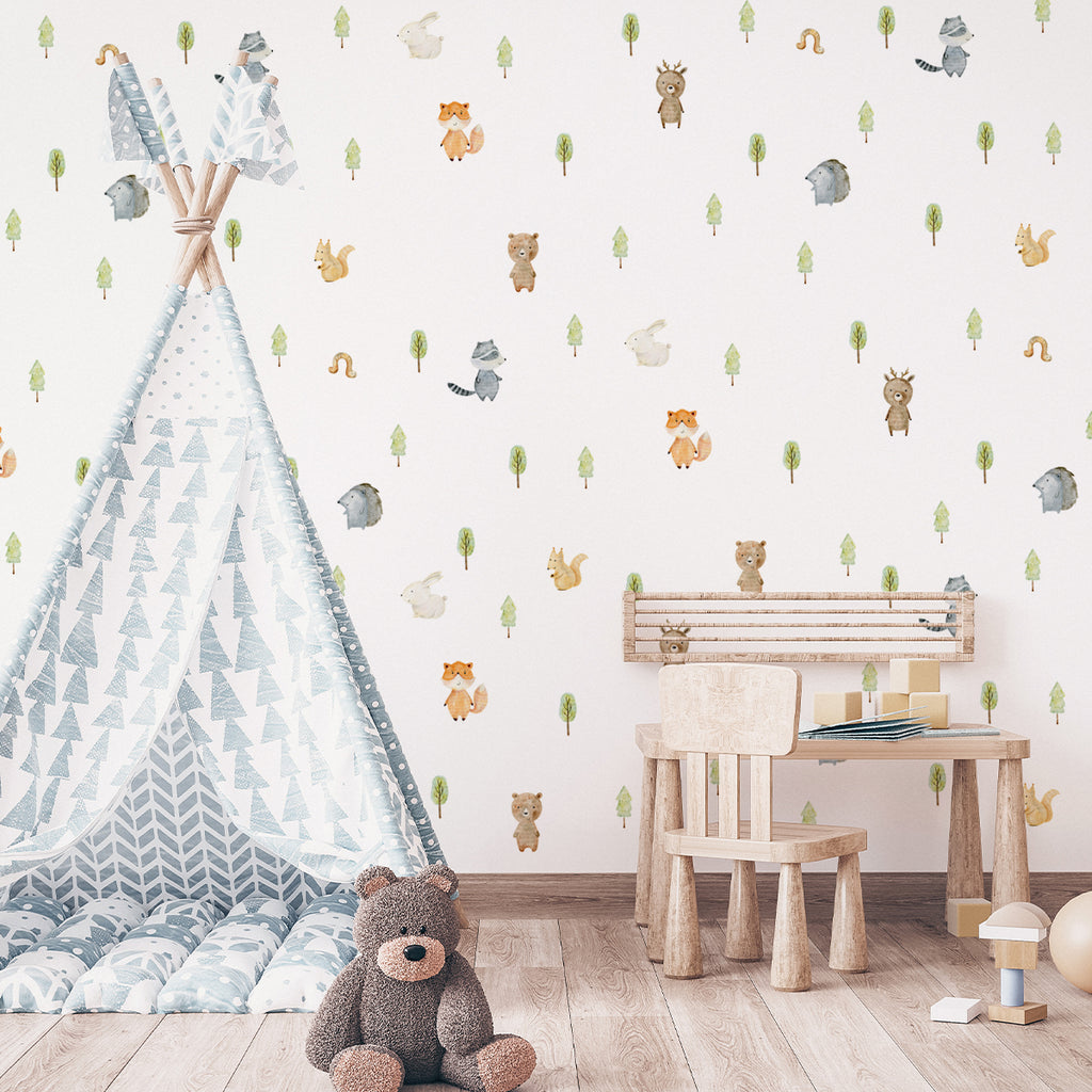 kids bedroom wall sticker, nursery wall sticker, wall sticker, wall decal , wall tattoo, forest animals wall sticker, woodland animals wall sticker, girls wall stickers, boys wall sticker, wall stickers with forest animals, scandinavian wall sticker, hedgehog wall sticker, wall stickers with squirrels, nordic wall stickers, nordic wall decal, scandinavian wall decal, nursery room ideas, kids bedroom ideas, fox wall stickers, rabbit wall stickers