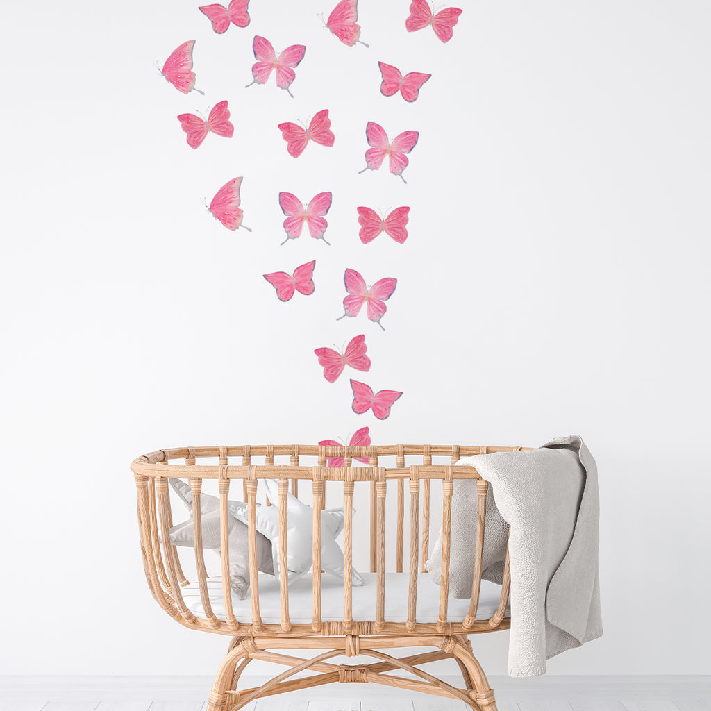 kids bedroom wall stickers, nursery wall stickers, wall stickers, wall decal , wall tattoo, pink butterflies wall sticker, butterflies wall sticker, girls wall sticker, wall stickers with butterflies, scandinavian wall stickers, kids bedroom ideas, nursery ideas, nordic wall stickers, wall decor ideas