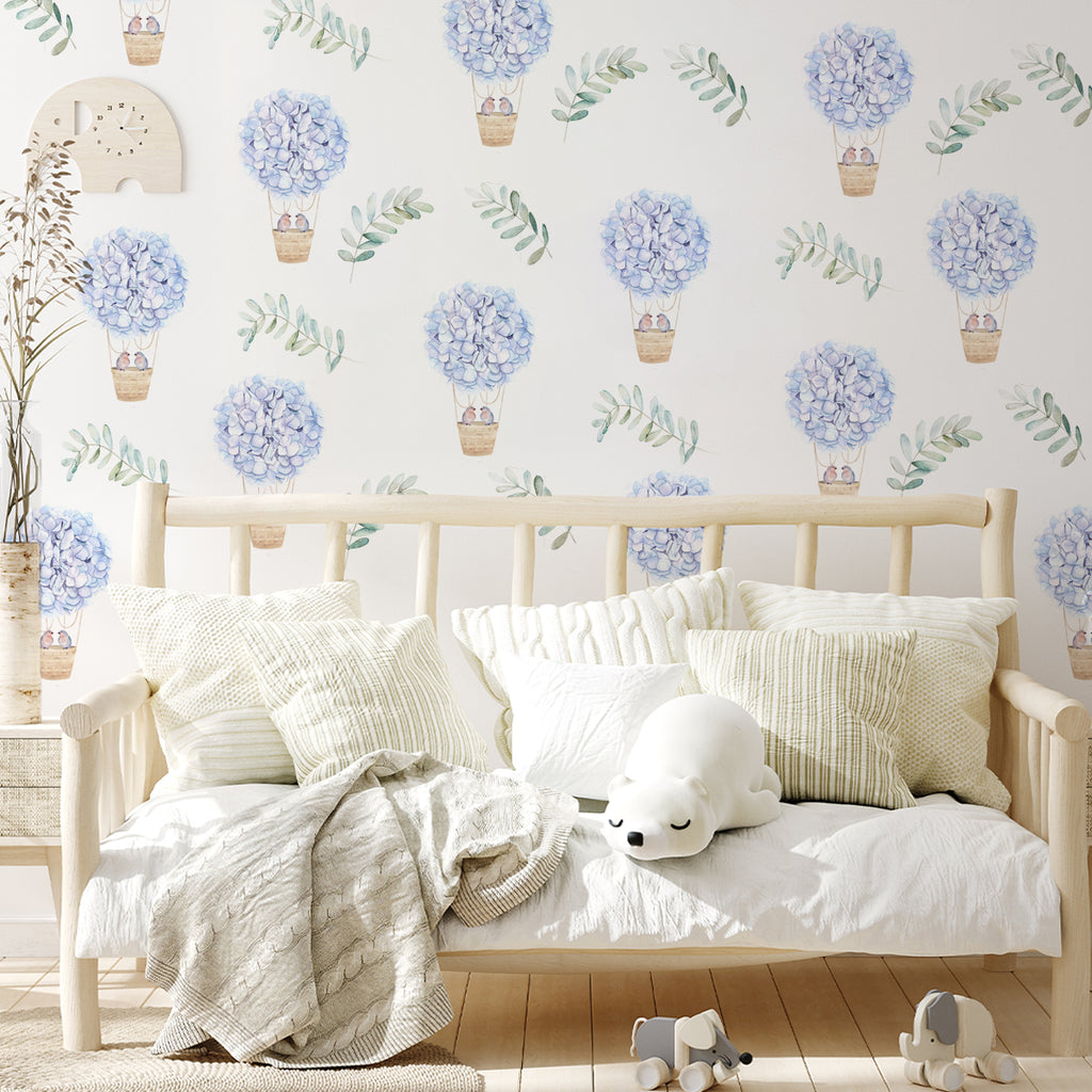 kids bedroom wall stickers, nursery wall stickers, wall stickers, wall decal , wall tattoo, floral hot air balloons with birds wall sticker, hot air balloon wall sticker, birds wall sticker, girls wall sticker, wall stickers with birds, scandinavian wall stickers, kids bedroom ideas, nursery ideas, nordic wall stickers, wall decor ideas