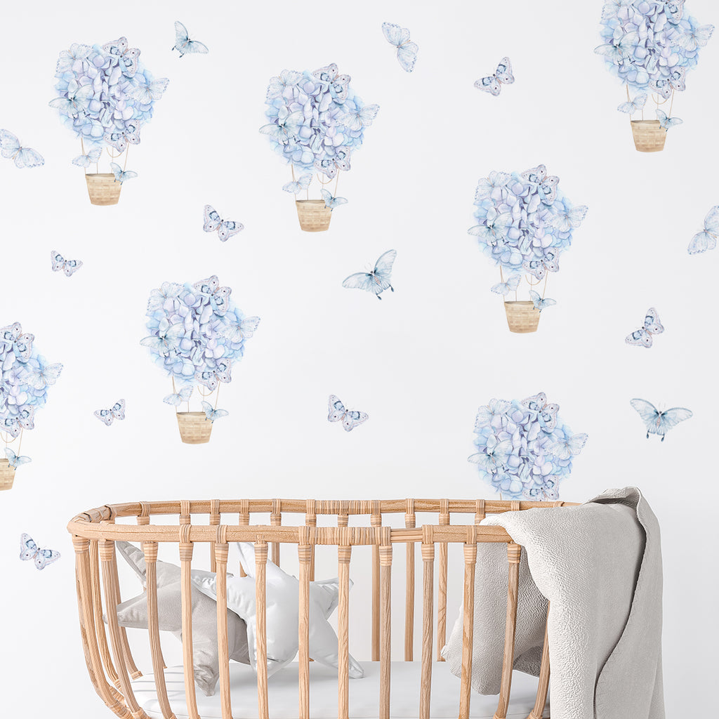 kids bedroom wall stickers, nursery wall stickers, wall stickers, wall decal , wall tattoo, floral hot air balloons with butterflies wall sticker, hot air balloon wall sticker, blue butterflies wall sticker, butterflies wall sticker, girls wall sticker, wall stickers with butterflies, scandinavian wall stickers, kids bedroom ideas, nursery ideas, nordic wall stickers, wall decor ideas