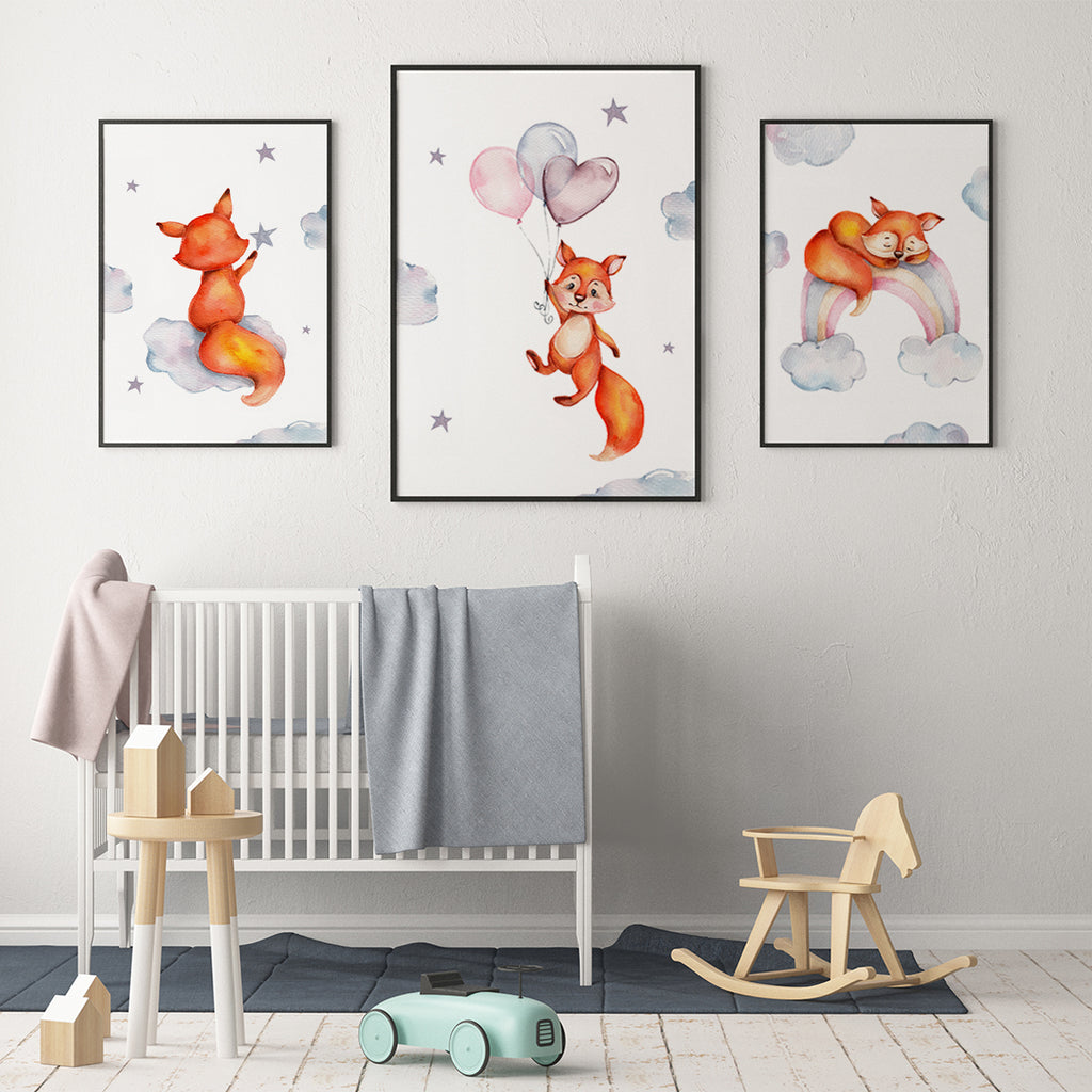 Little fox with balloon Fine Art Print