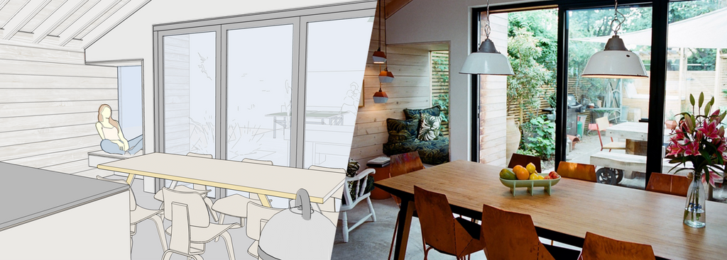 SketchUp model and photo of completed project showing view from dining area into garden at Jemima's House, London.