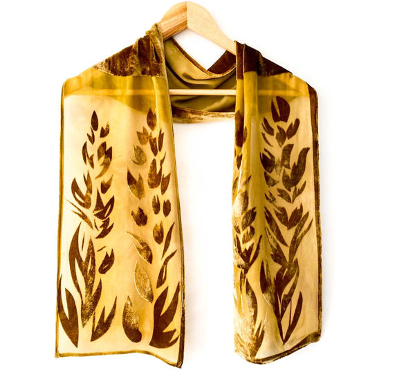 Gold/Brown Devore Floral 1