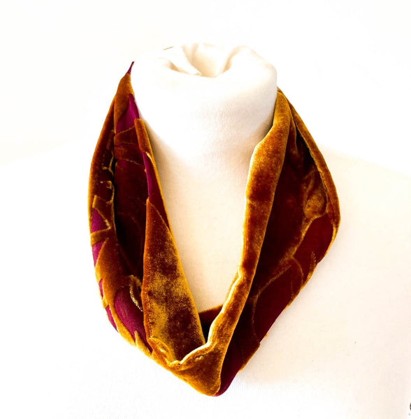 Rich Gold/  Purple Devore Snood