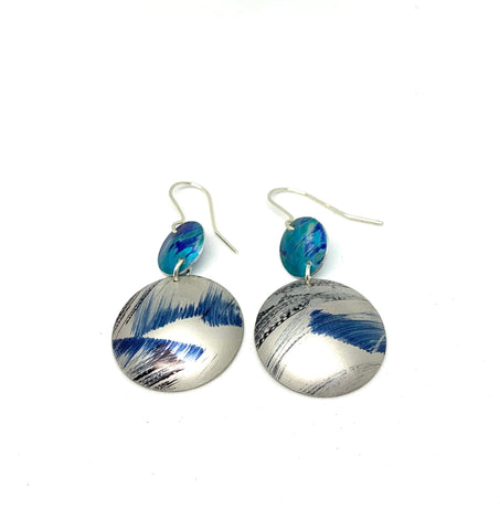 Turquoise and Brushed Blue Aluminium Earrings
