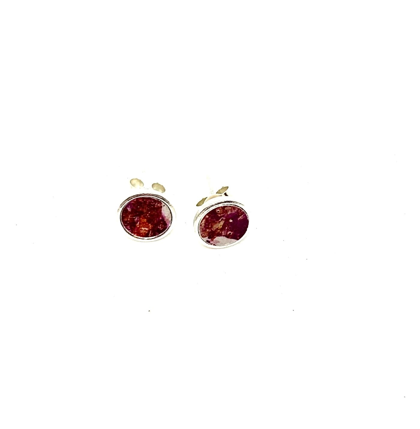 Unique jewellery by Rachel Sowe - textile anodised aluminium coloured stud earrings - perfect gift for birthdays and anniversaries