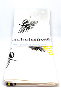 Unique hand printed t -towel with lavender and bee designs by rachel-stowe