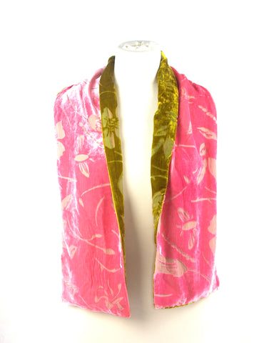 Pink and Green Silk Velvet floral double scarf