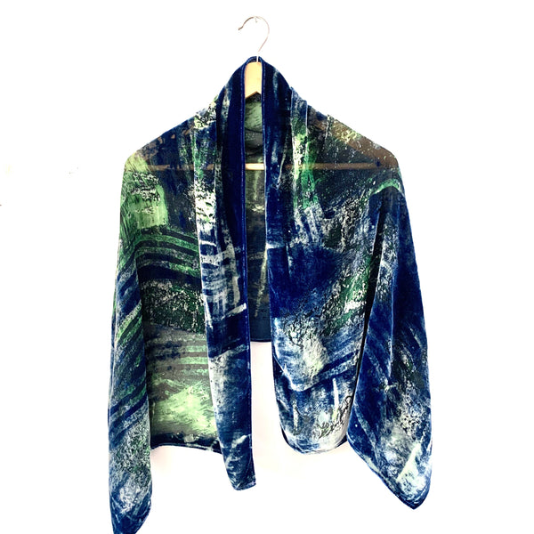 Sea inspired Silk Velvet Wrap