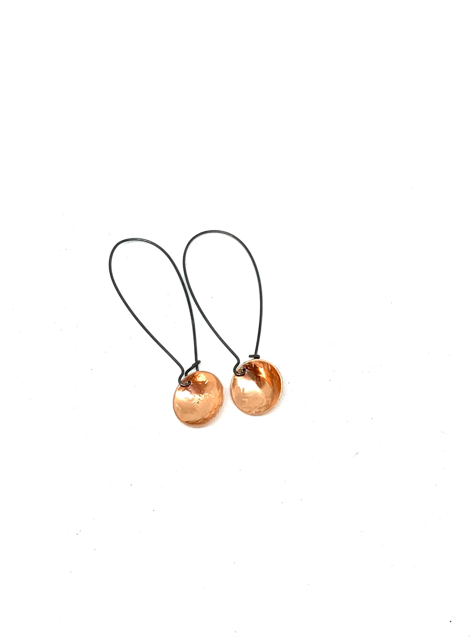 Copper oxidised long drop Earrings small