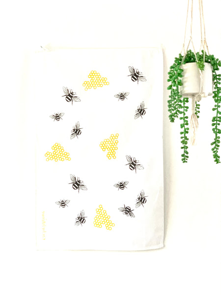 Bee and Honeycomb Tea Towel