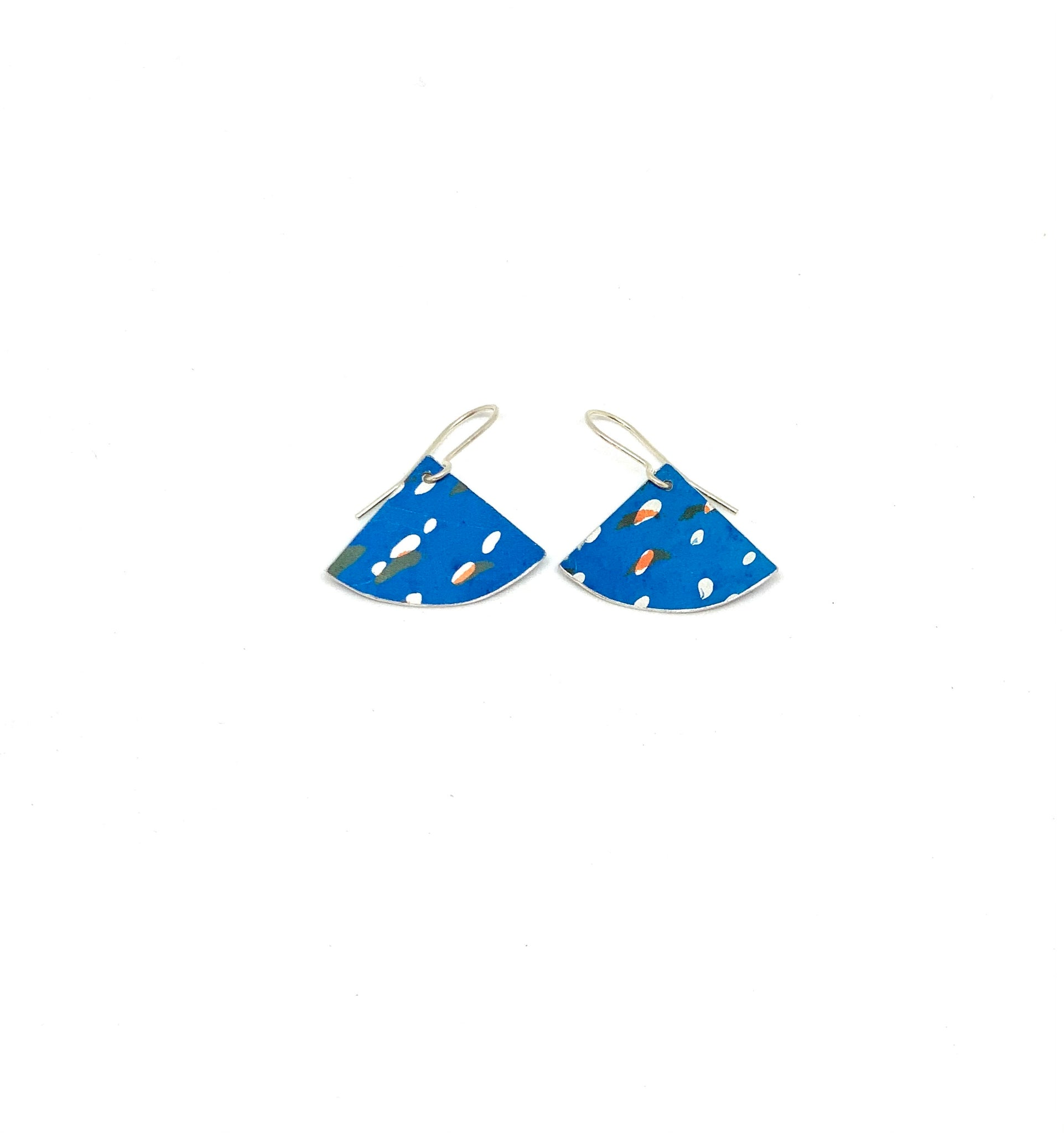 Blue /Black /orange Fan  Earrings