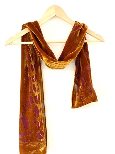 Deep Rich Gold Silk Velvet Scarf