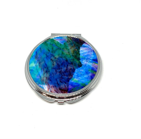 Watercolour blues compact mirror