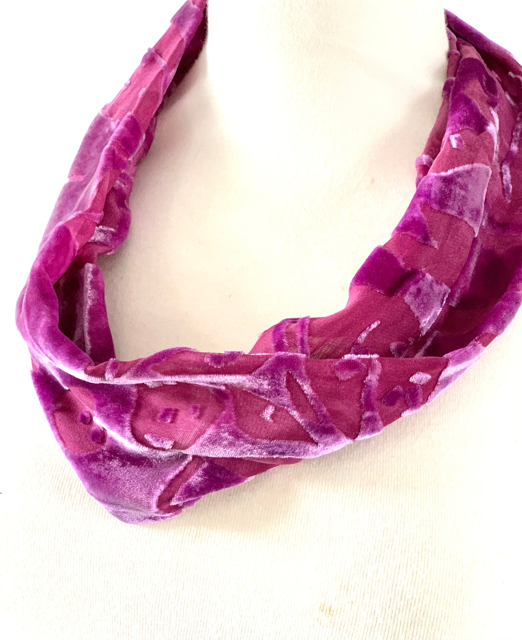 Purple Silk Velvet Snood