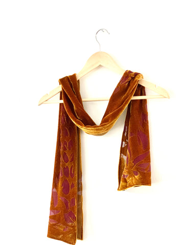 Unique Gold Designer Silk Scarf devore hand printed,  purple and gold in colour  luxurious silk velvet scarf perfect womens accessory by rachel-stowe